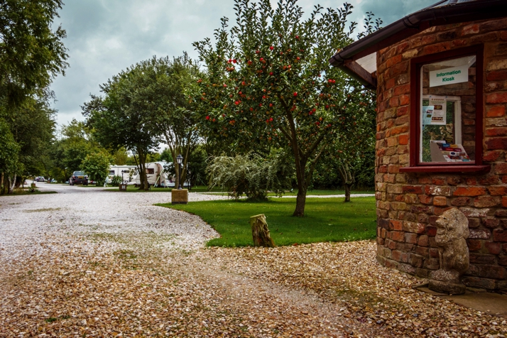 Adult only caravan park pitches and apple trees viewed from the information kiosk at Long Acres Touring Park