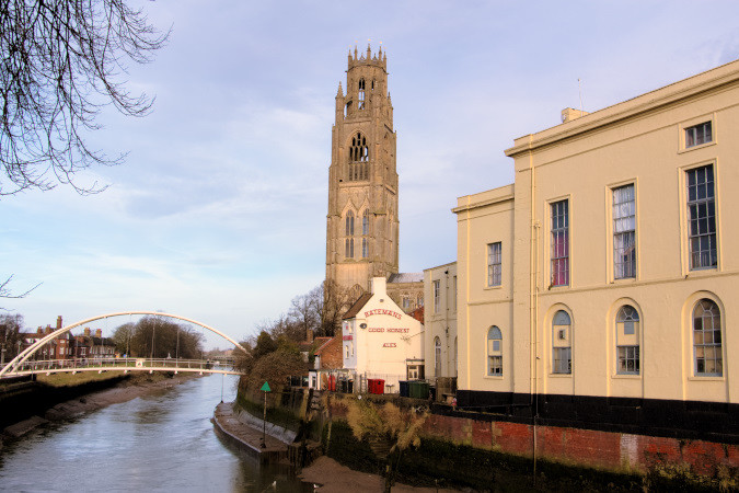 Boston Stump on the banks of the River Witham
