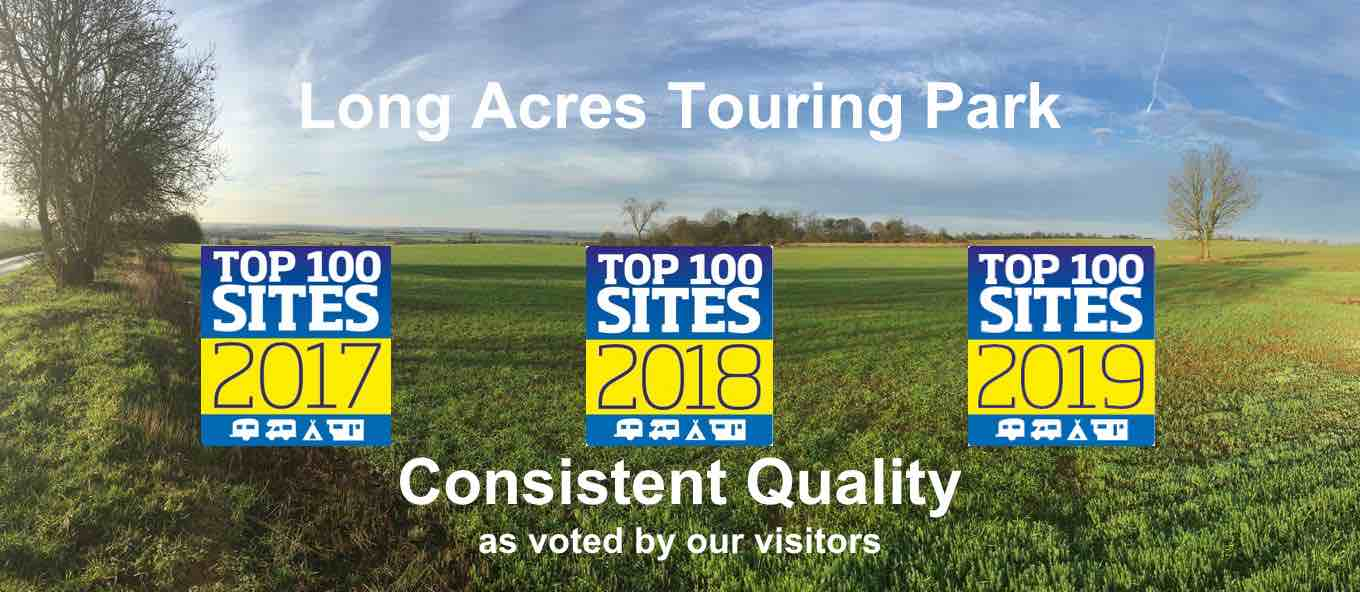 Voted Top 100 Sites 2019 - consistent quality and adult only, at Long Acres Touring Park